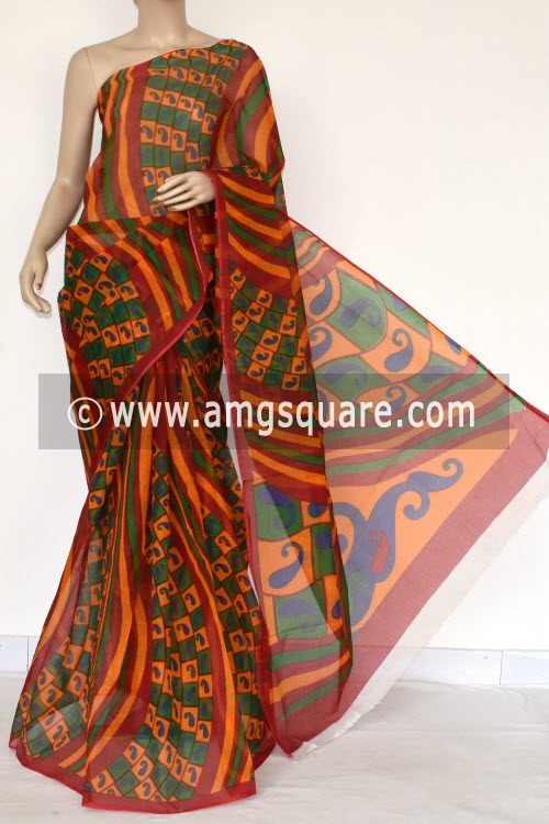 Red Yellow Premium JP Kota Doria Printed Cotton Saree (without Blouse) 15389