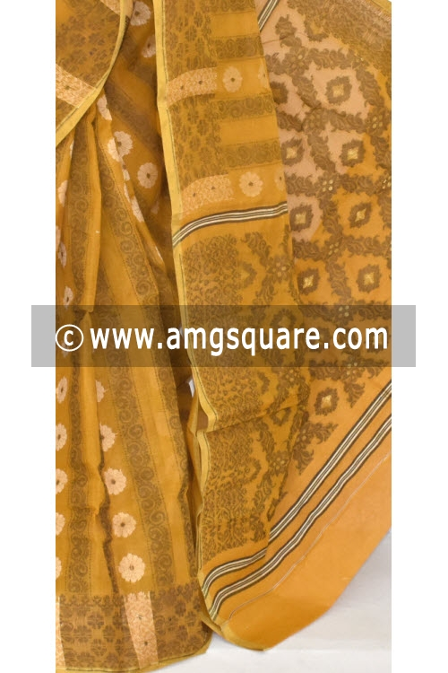 Mustared Jamdani Handwoven Bengal Tant Cotton Saree (Without Blouse) 17348