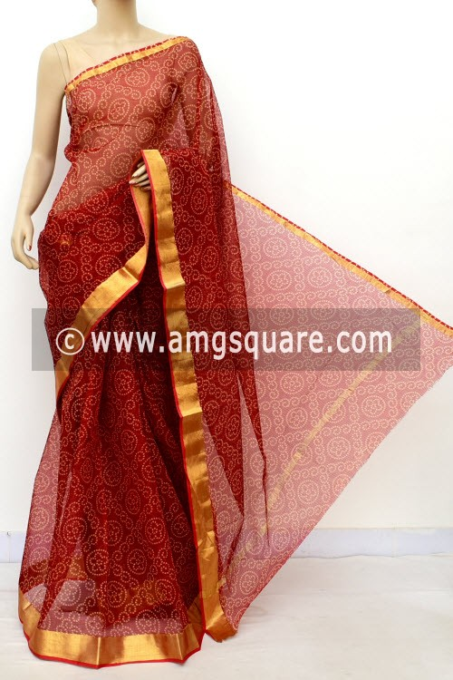 Maroon JP Kota Doria Printed Cotton Saree (without Blouse) Chunri Print Zari Border 13518