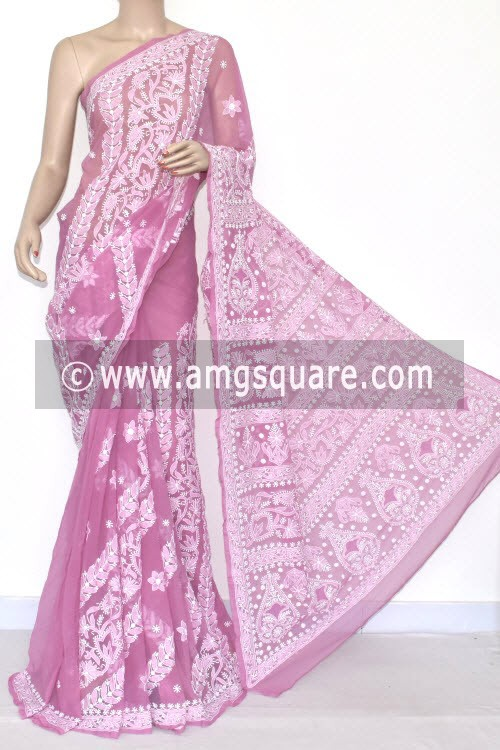 Move Designer Hand Embroidered Lucknowi Chikankari Saree (With Blouse - Georgette) 14494