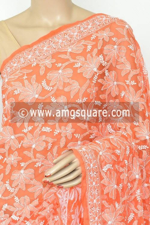 Light Orange Hand Embroidered Lucknowi Chikankari Saree (With Blouse - Georgette) Half Jaal 14629
