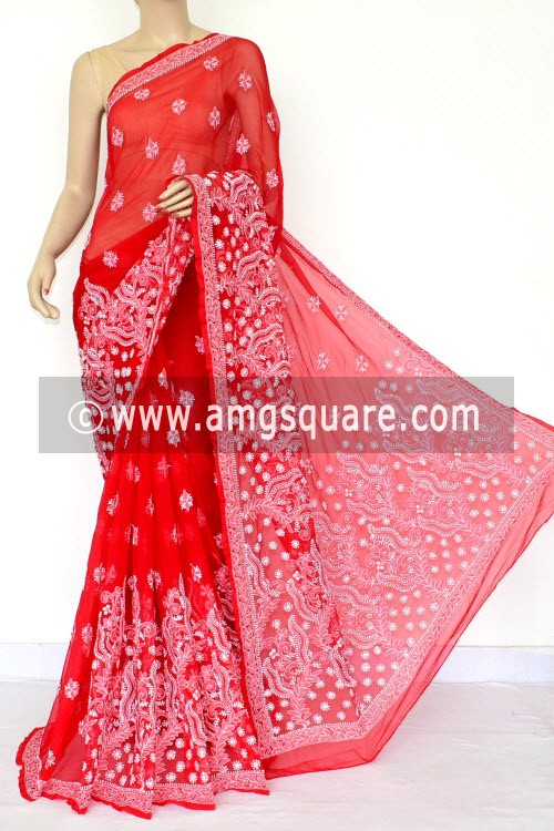 Red Hand Embroidered Lucknowi Chikankari Saree (With Blouse - Georgette) Rich Pallu 14638