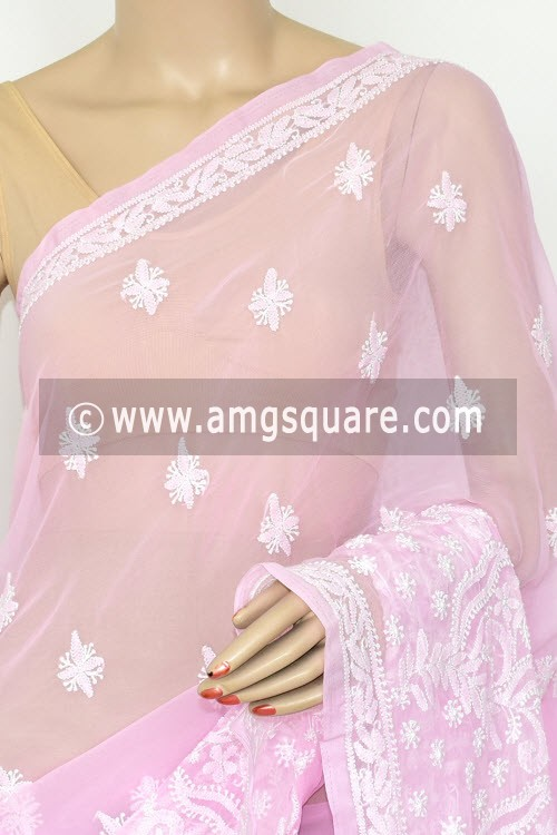 Baby Pink Hand Embroidered Lucknowi Chikankari Saree (With Blouse - Georgette) Rich Pallu 14639