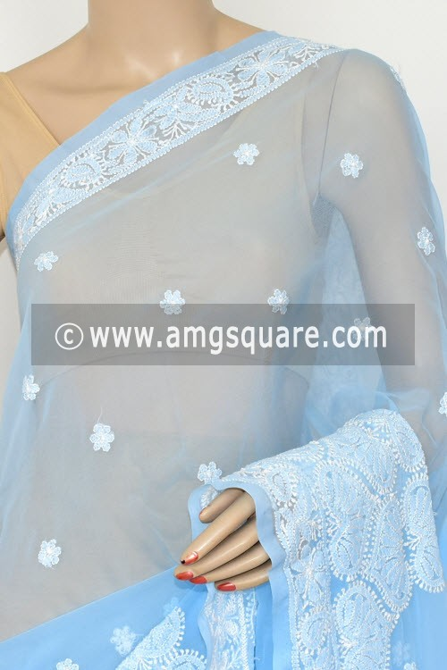 Sky Blue Hand Embroidered Lucknowi Chikankari Saree (With Blouse - Georgette) Rich Pallu 14641