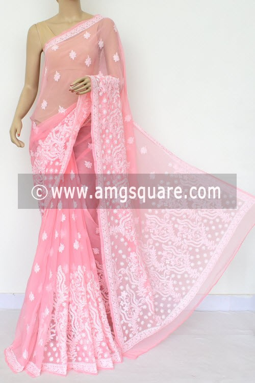Peach Hand Embroidered Lucknowi Chikankari Saree (With Blouse - Georgette) Rich Pallu & Border 14644
