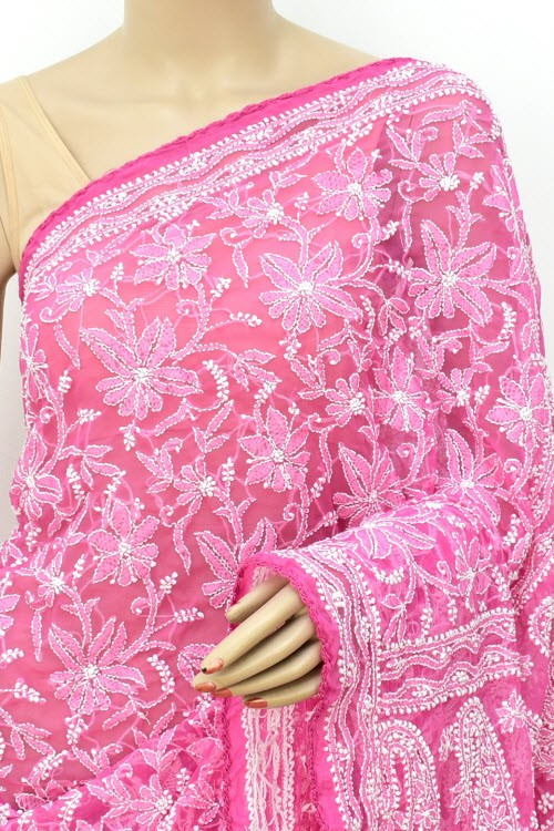 Onion Allover Hand Embroidered Lucknowi Chikankari Saree (With Blouse - Faux Georgette) Croatian Embroidered Border 14701