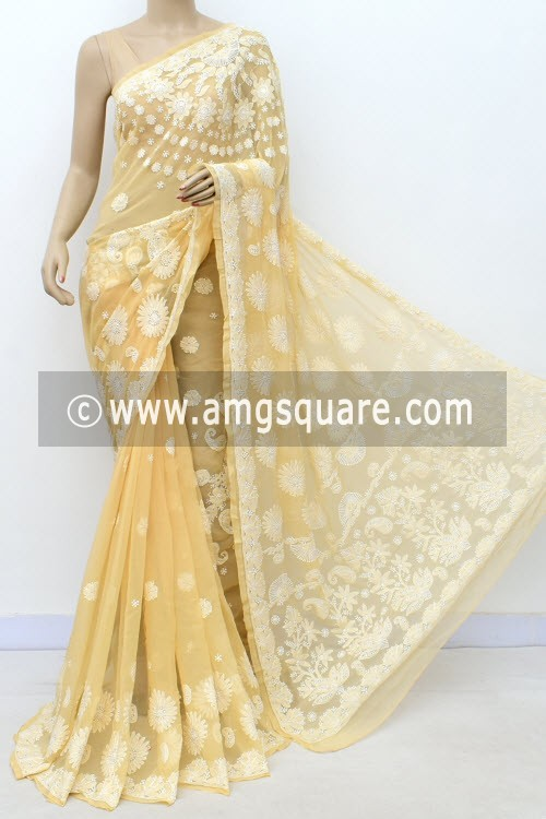 Beige Designer Hand Embroidered Lucknowi Chikankari Saree (With Blouse - Georgette) 14711