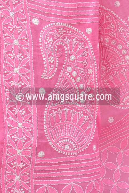 Onion Allover Hand Embroidered Lucknowi Chikankari Saree (With Blouse - Cotton) 14731