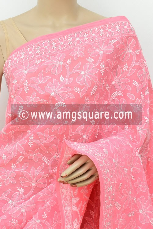 Peach Allover Hand Embroidered Lucknowi Chikankari Saree (With Blouse - Cotton) 14733