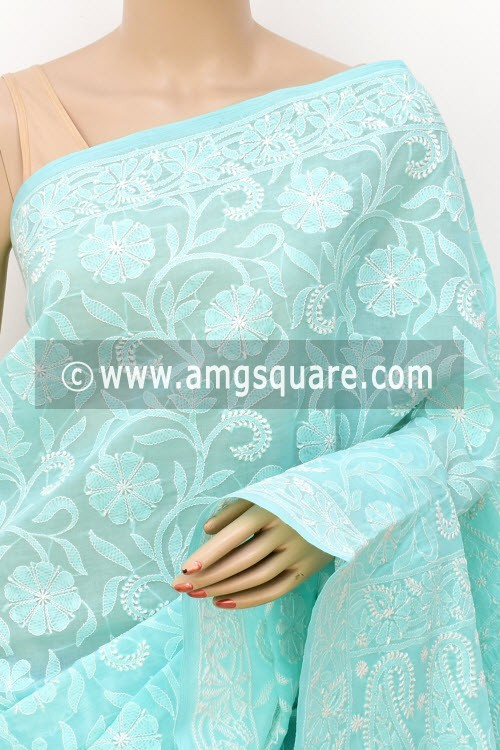 Sea Green Allover Hand Embroidered Lucknowi Chikankari Saree (With Blouse - Cotton) 14741