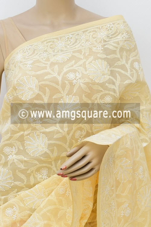 Fawn Allover Hand Embroidered Lucknowi Chikankari Saree (With Blouse - Cotton) 14743
