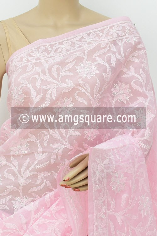 Baby Pink Allover Hand Embroidered Lucknowi Chikankari Saree (With Blouse - Cotton) 14745