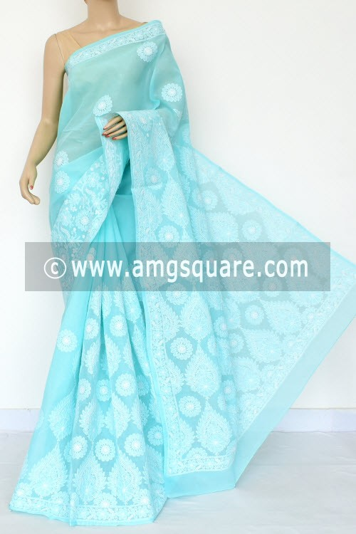 Light Sea Green Exclusive Hand Embroidered Lucknowi Chikankari Saree (With Blouse - Cotton) 14759