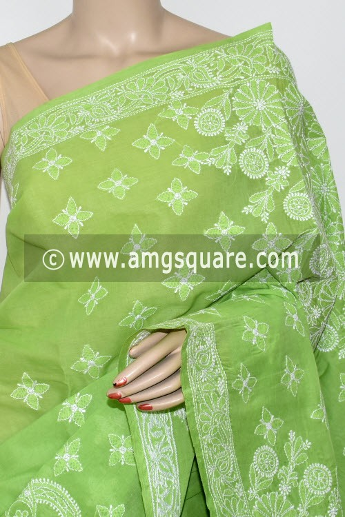 Menhdi Green Exclusive Hand Embroidered Lucknowi Chikankari Saree (With Blouse - Cotton) 14794