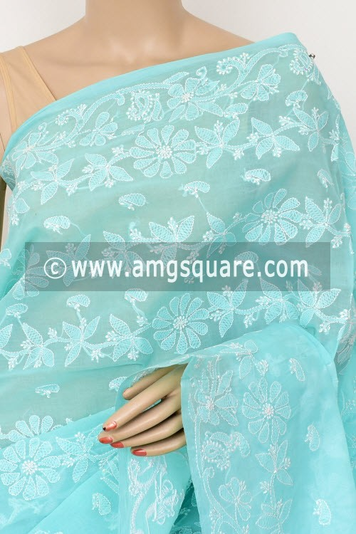 Sea Green Exclusive Hand Embroidered Lucknowi Chikankari Saree (With Blouse - Cotton) 14819