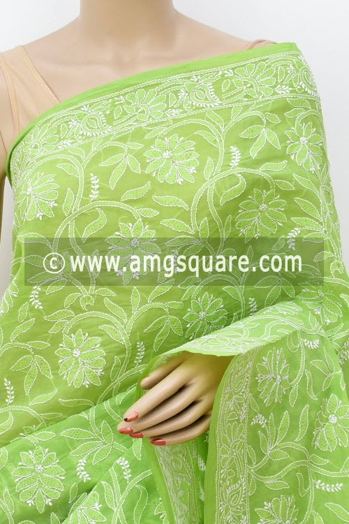 Menhdi Green Allover Hand Embroidered Lucknowi Chikankari Saree (With Blouse - Cotton) 14848