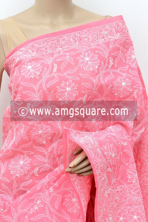 Peach Allover Hand Embroidered Lucknowi Chikankari Saree (With Blouse - Cotton) 14850