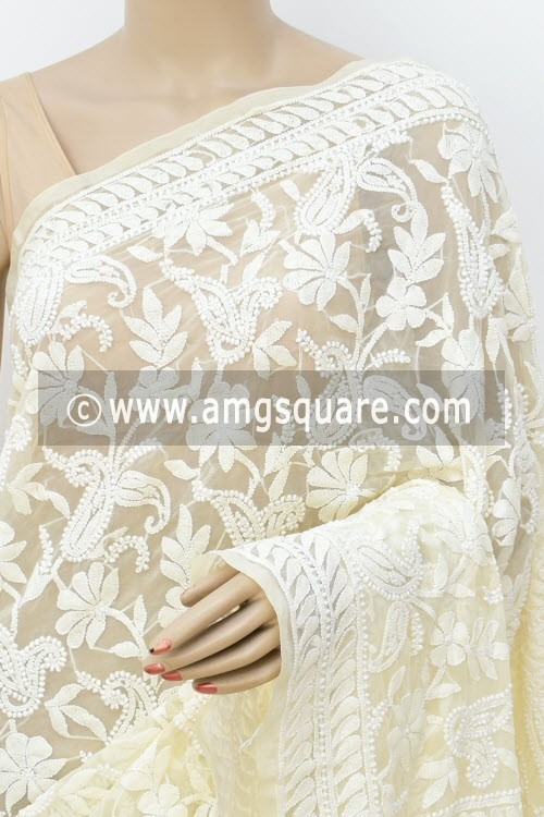 Cream Allover Hand Embroidered Lucknowi Chikankari Saree (With Blouse - Faux Georgette) 14930