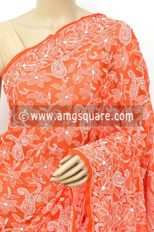 Orange Allover Hand Embroidered Lucknowi Chikankari Saree (With Blouse - Faux Georgette) 14932