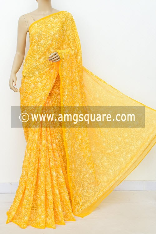Yellow Hand Embroidered Allover Tepchi Work Lucknowi Chikankari Saree (With Blouse - Faux Georgette) 14934