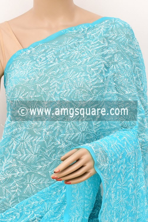 Pherozi Hand Embroidered Allover Tepchi Work Lucknowi Chikankari Saree (With Blouse - Faux Georgette) 14937
