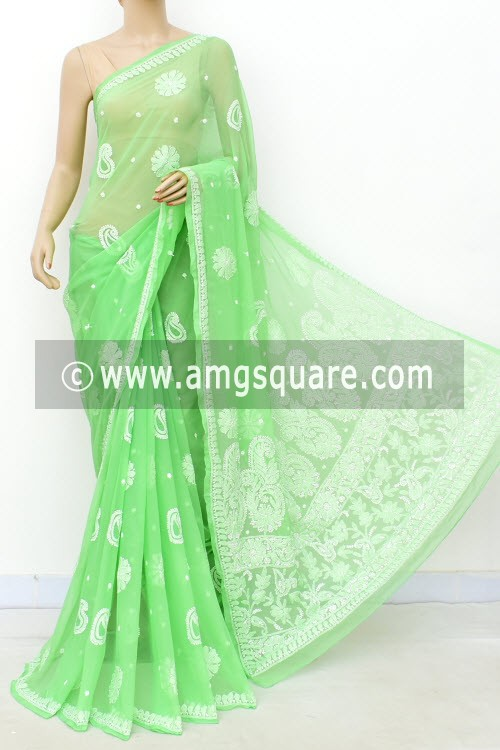 Pista Green Hand Embroidered Lucknowi Chikankari Saree (With Blouse - Faux Georgette) Allover Booti 14939