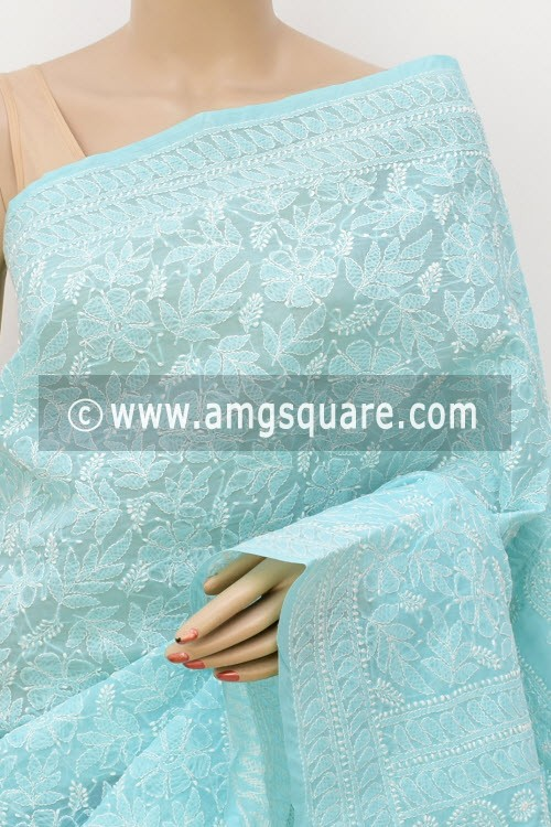 Light Blue Allover Hand Embroidered Lucknowi Chikankari Saree (With Blouse - Cotton) 14945