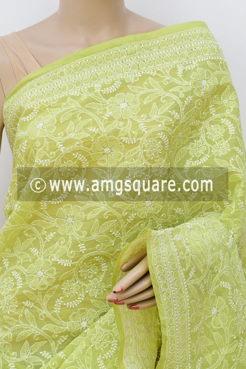 Menhdi Green Allover Hand Embroidered Lucknowi Chikankari Saree (With Blouse - Cotton) 14947