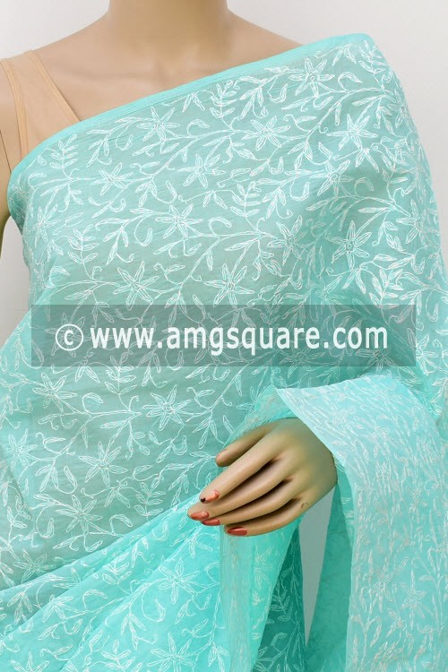 Sea Green Allover Hand Embroidered Tepchi Work Lucknowi Chikankari Saree (With Blouse - Cotton) 14953
