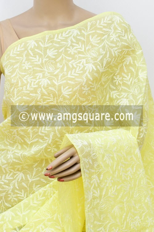 Light Yellow Allover Hand Embroidered Tepchi Work Lucknowi Chikankari Saree (With Blouse - Cotton) 14954