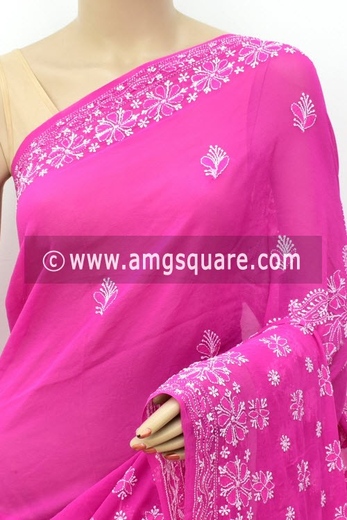 Magenta Designer Hand Embroidered Lucknowi Chikankari Saree (With Blouse - Pure Georgette) 15210