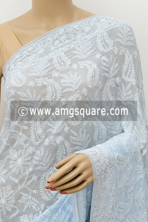Light Grayish Blue Designer Allover Hand Embroidered Lucknowi Chikankari Saree (With Blouse - Pure Georgette) 15211