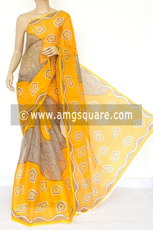 Golden Yellow JP Kota Doria Printed Cotton Saree (without Blouse) 15446