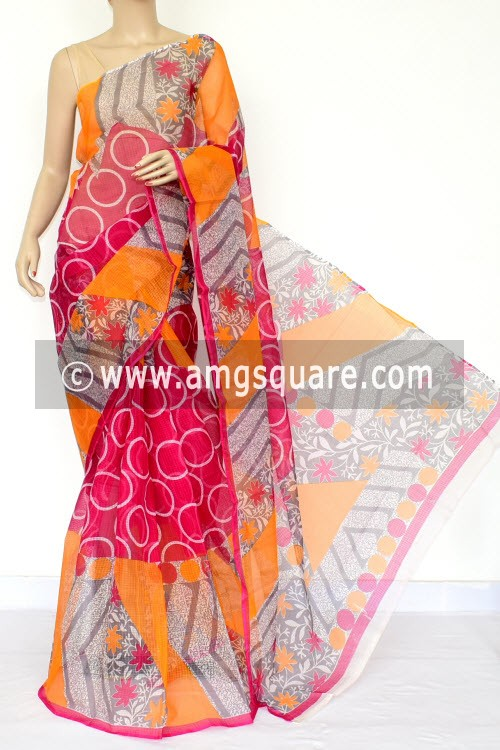 Rani Pink Yellow JP Kota Doria Printed Cotton Saree (without Blouse) 15447