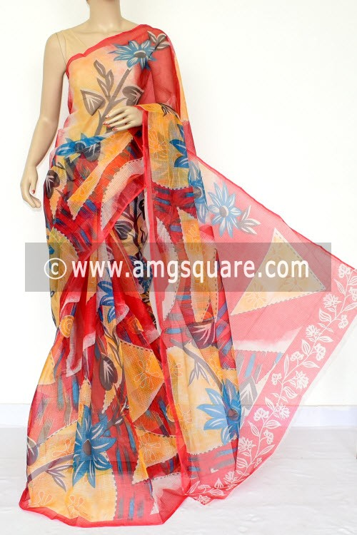 Red JP Kota Doria Printed Cotton Saree (without Blouse) 15448