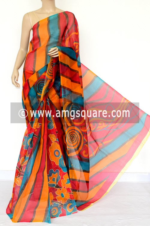 Red Yellow Pherozi Kota Printed Saree (Without Blouse - Supernet) 15454