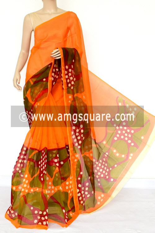 Orange Green Printed Kota Saree (Without Blouse - Supernet) 15459