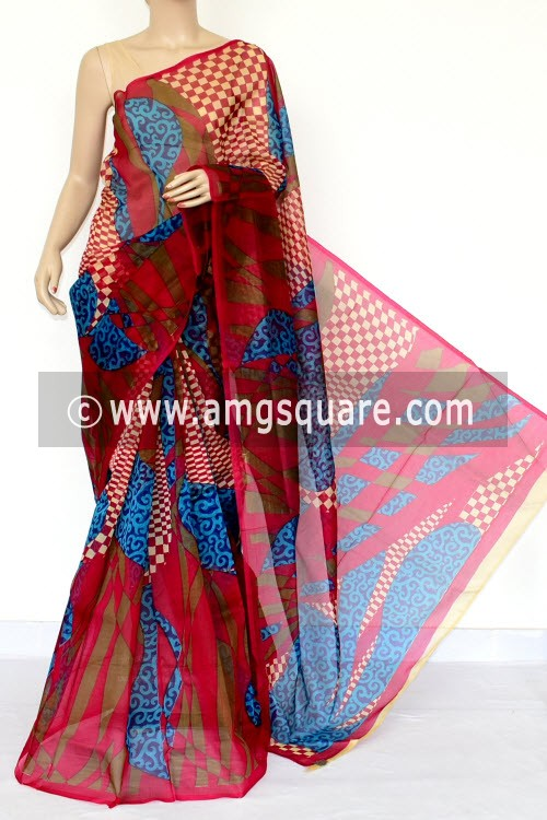 Red Blue Printed Kota Saree (Without Blouse - Supernet) 15460
