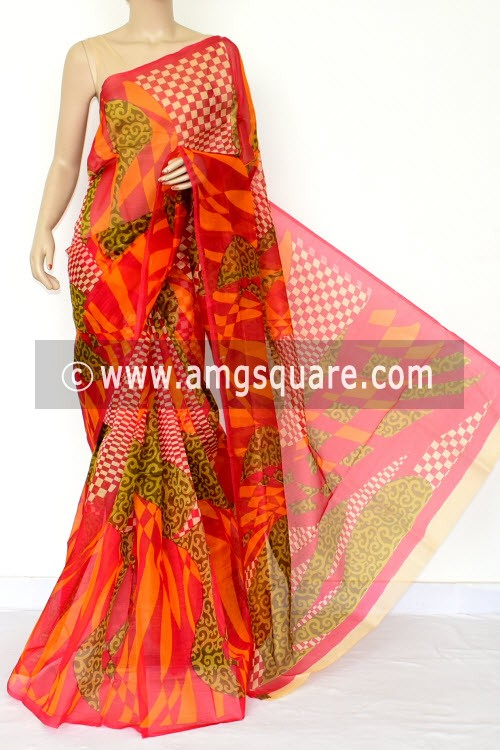 Red Orange Printed Kota Saree (Without Blouse - Supernet) 15462