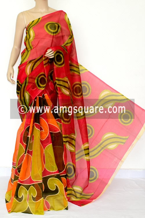 Red Menhdi Green Printed Kota Saree (Without Blouse - Supernet) 15463