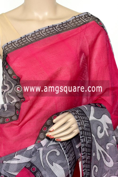 Rani Pink Grey Premium  JP Kota Printed Cotton Saree (without Blouse) 15477