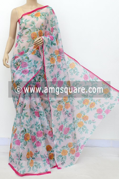 Pherozi Blue Pink JP Kota Doria Floral Print Cotton Saree (without Blouse) 15493