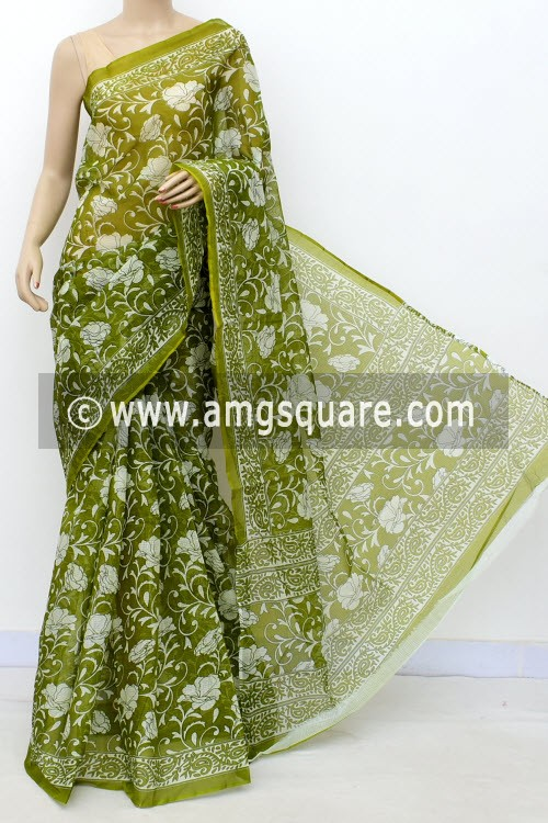 Menhdi Green Premium JP Kota Doria Floral Print Cotton Saree (without Blouse) 15495
