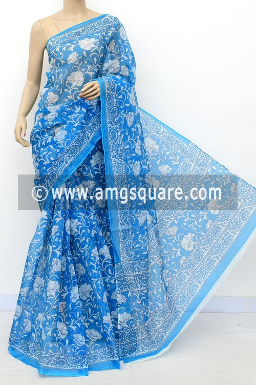 Turquoise Blue Premium JP Kota Doria Floral Print Cotton Saree (without Blouse) 15497