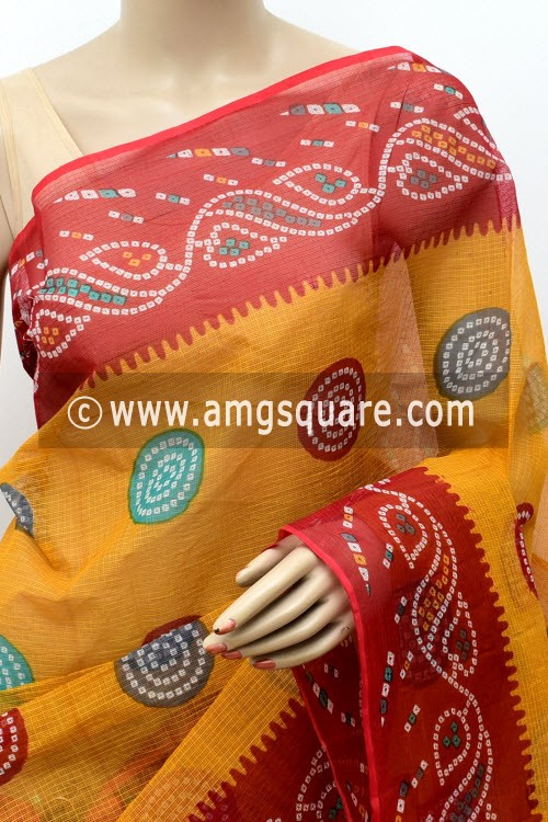 Mustared Yellow Red Premium JP Kota Doria Chunri Print Cotton Saree (without Blouse) 15499