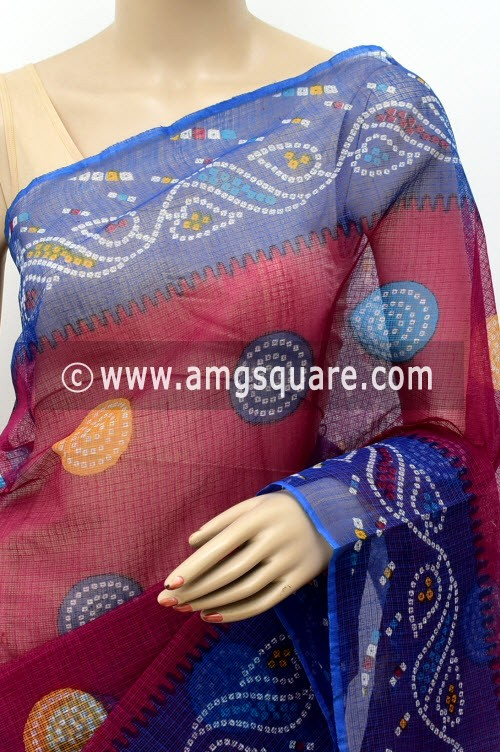 Magenta & Blue Premium JP Kota Doria Chunri Print Cotton Saree (without Blouse) 15500