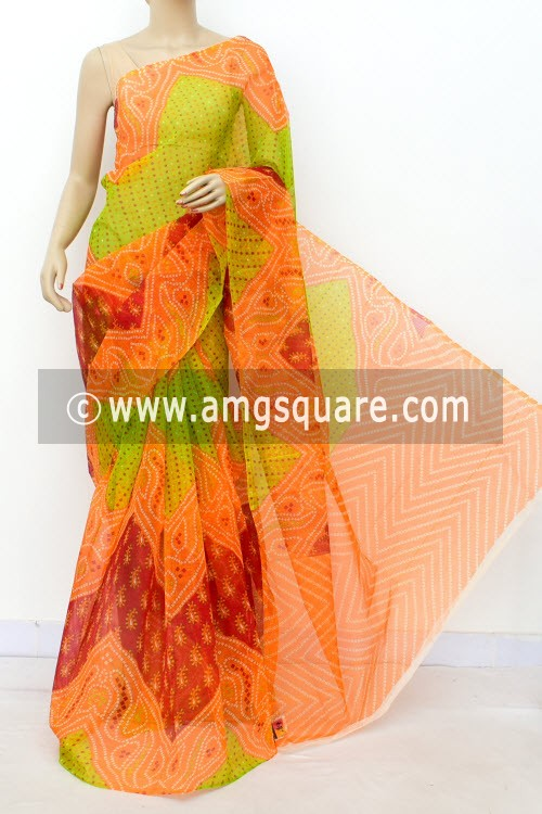 Orange Green Premium JP Munga Kota Chunri Print Cotton Saree (without Blouse) 15506