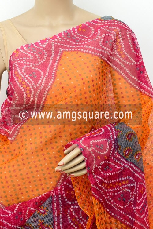 Orange Grey Premium JP Munga Kota Chunri Print Cotton Saree (without Blouse) 15507