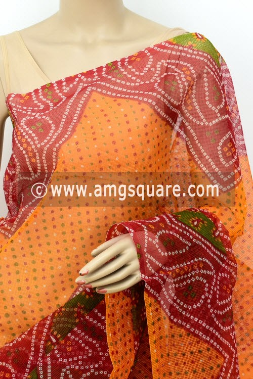 Red Orange Premium JP Munga Kota Chunri Print Cotton Saree (without Blouse) 15508