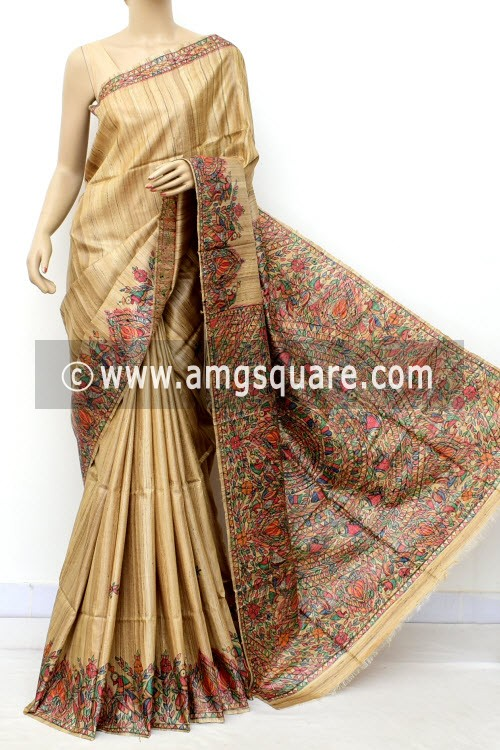 Madhubani Hand Printed Handloom Pure Matka Silk Saree (With Blouse) 16277